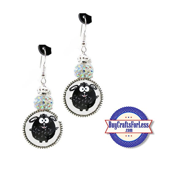 SHEEP EARRiNGS, Hand Drawn, Glass Cabochon, Sparkle Beads, FREE Gift BoX!!  +FREE SHiPPiNG & Discounts*