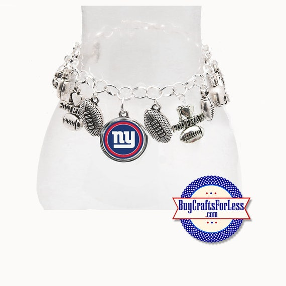 NeW YORK Football CHARM Bracelet, Silver Plated  **FREE U.S. SHiPPiNG**
