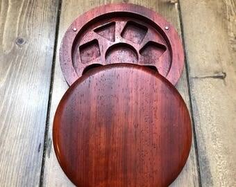 Circular Padauk Wood Polyhedral Dice Box for Dungeons and Dragons (DnD) or Pathfinder RPGs