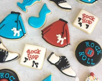1 Dozen 1950's Sock Hop Decorated Cookies