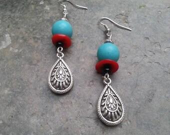 earring ethnic - stone earring - coral earring - earring silver - dangle charm drop earrings