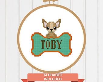 Dog cross stitch pattern/Chihuahua cross stitch/dogpattern/cross stitch chart/Animal cross stitch/modern cross stitch/chihuahua chart/17-009