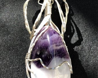 Sterling Silver Wirewrapped Tumbled Amethyst