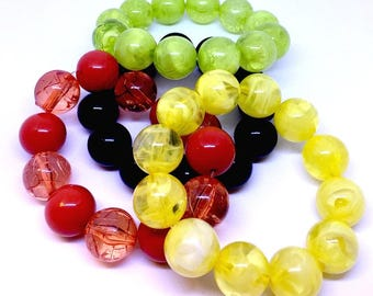 Set of round beads bracelets. Fashion beads bracelets