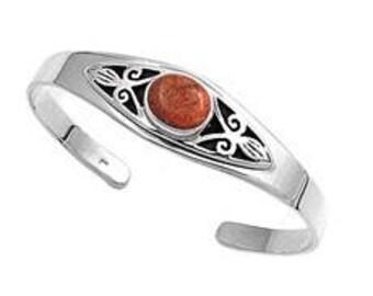 Silver w/ Coral Bangle