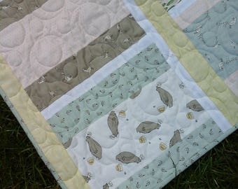 Easter Lap Quilt Bunny Fabric Animal Toddler Blanket Spring Chicken Decor Garderner Gift Handmade Homemade Ready To Ship Bees Carrots Soft