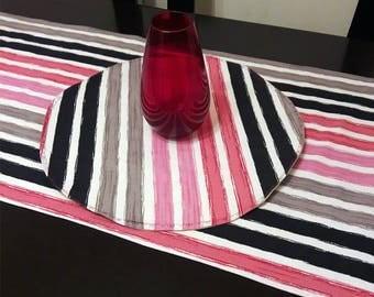 Stripes modern table topper,gray pink table toper,modern centerpiece,canvas table centerpiece,pink round table topper,modern decor,soho,boho