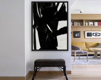 Hand Painted Extra Large Abstract Painting, Horizontal oil Painting Large Wall Art. Black White Painting Original Art