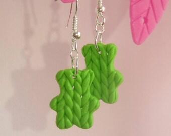 pair of earrings in polymer clay green Teddy bear shape