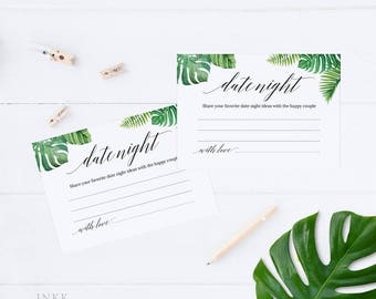 Tropical Date Night Cards, Date Night Ideas, Wedding Advice Cards,Marriage Advice,Bridal Shower,Advice for the Couple,Instant Download #E027