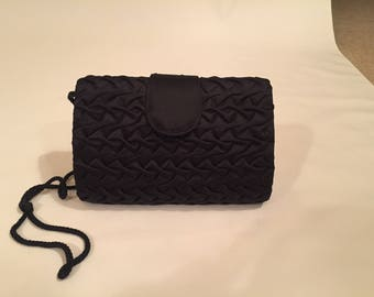 Black Satin Pintucked, Clutch, Evening Bag