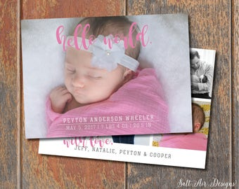 Hello World. Printable Baby Girl Birth Announcement. Pink. Two-sided.