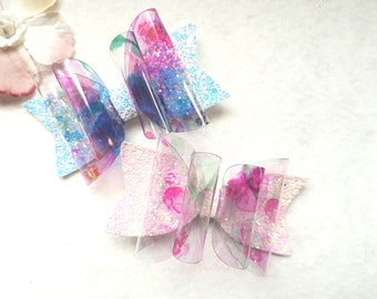 Blue Floral Glitter bow