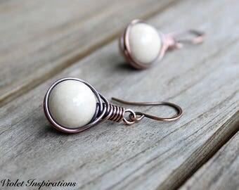 Riverstone Earrings / Copper Earrings / Wire Wrapped Earrings / Wire Wrapped Jewelry / Natural Riverstone / White Earrings / Summer Earrings
