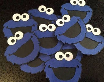 """2"""" x 2"""" COOKIE MONSTER Die Cuts, Birthday Party, Cookie Momster Decor, Sesame Street Birthday, Elmo Birthday, Scrapbook Cut Out"""