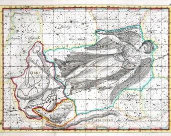 Antique star atlas zodiac sign Virgo and Libra, ancient astronomical, instant graphic, image download, zodiac printable, vintage celestial