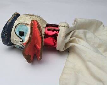 Vintage Donald Duck Hand Puppet - Disney Prototype Childs Toy Early 1950s Not Pelham Puppet - Weird Creepy Angry Looking Strange Bizarre