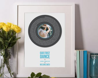 Unframed - First Dance Lyrics Personalised Record Print - Wedding gift, gift for her, anniversary gift, paper wedding anniversary gift