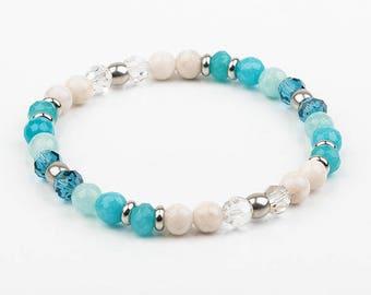 Turquoise Stretch Bracelet, swarovski, stainless steel