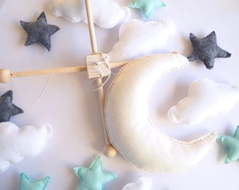 SAVE 20% - Moon Stars Baby Mobile - Cloud Mobile - Nursery Crib Mobile - Felt Crib Mobile - Stars Moon Mobile - Moon Star Nursery Decor