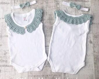 Crochet collar baby body suit vintage lace style vest custom made Peter Pan collar onesie snapsuit popper suit