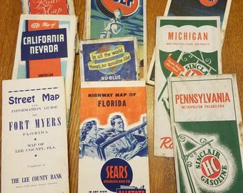 Collection of old road maps from the 1940s and 50s