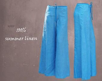 linen summer pants chambray, wide summer pants, pants, linen summer trousers