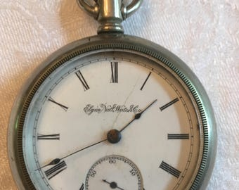 Elgin Nat'l Watch Co Silveroid pocket watch 1890 Lovely condition Do Not Know if it runs as/is