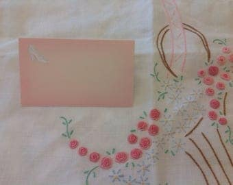 Vintage boxed wedding place cards pink and silver x 100 approx