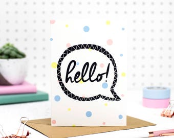 Hello Card, Hello Greetings Card, Hello Note Card - Blank Inside