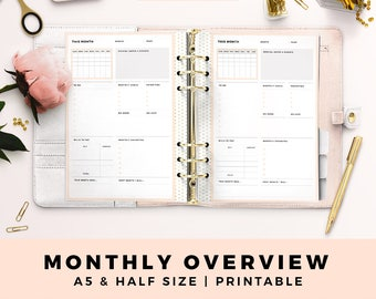 A5 HALF Size Printable Personal Planner Inserts, Monthly Overview, Monthly Planner