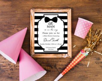 Digital Baby-Boy Shower Invitation / Black & White Invitation / Baby Shower Invite / Baby Shower Printable / Baby Boy Invitation