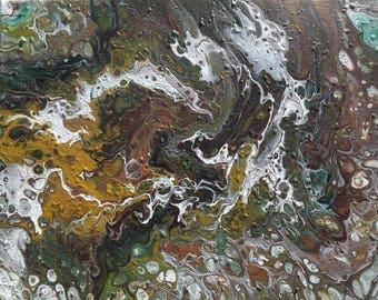 Original Abstract Fluid Acrylic Painting - Metallics, greens and browns - Dashing
