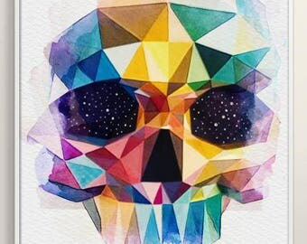 Rainbow Space Skull in watercolours