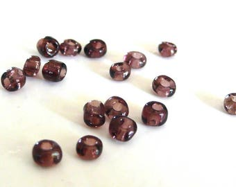 Large seed beads purple clear 10g - 4 mm