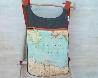 World's Map backpack: Women backpack purse, men backpack, grey canvas backpack, ergonomic backpack, backpack diaper bag, original backpack