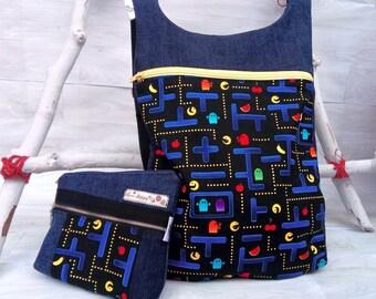 Conjunto pacman: mochila tejana estampado pac-man - Mochila pacman - Bolso mochila mujer - neceser vaquero - Organizador bolso - Halloween