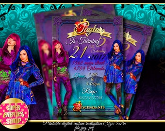 Descendants 2 Digital  Printable invitation, Custom Party Descendants ,Birthday,Party, Supply, Kit, Pack, Custom