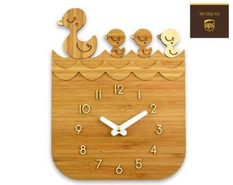 LITTLE DUCKLINGS - Bamboo Wall Clock