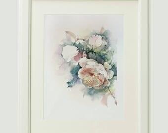 Roses painting, original watercolor painting