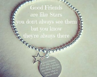 "Sterling Silver beaded "" Good Friends are like Stars you don't always see them but you know they're always there "" quote charm bracelet"