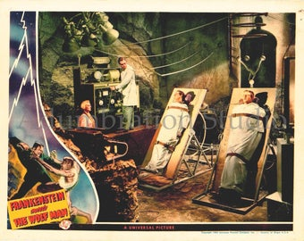 Frankenstein Meets the Wolf Man, Original 1943 Movie Lobby Card Reprint, Lon Chaney Jr., Bela Lugosi, Werewolf, Wolfman Archival Print