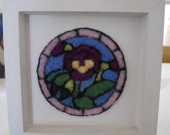 Needle felted pansy picture