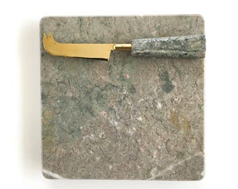 Vintage Granite Cutting Board with Knife in Original Box