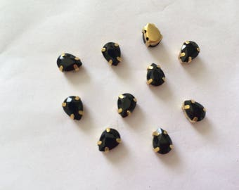 Set of 10 rhinestone set 6 * 8 mm d shaped fine