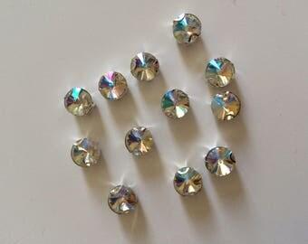 Set of 5 Crystal rhinestones set 10 mm with teeth that n hang