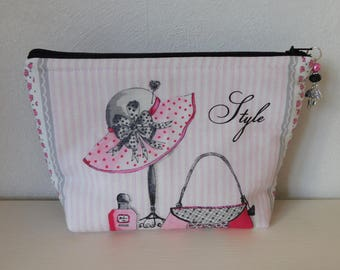Romantic pink and black makeup case