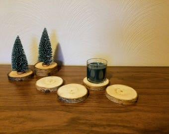 COASTERS. set of 4, birch wood