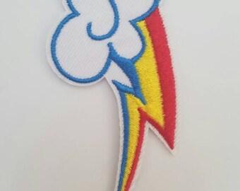 Rainbow dash cutie mark iron on inspired patch, cutie mark embroidery patch inspired