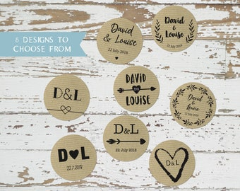 KRAFT Stickers Ribbed Effect/ 72 Custom Wedding Stickers / Save the Date Labels / Envelopes Seals / Initials / 40 mm Monogram